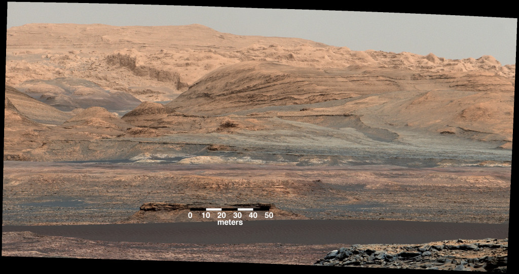 """The dark band in the lower portion of this Martian scene is part of the """"Bagnold Dunes"""" dune field lining the northwestern edge of Mount Sharp. Image Credit: NASA/JPL-Caltech/MSSS"""