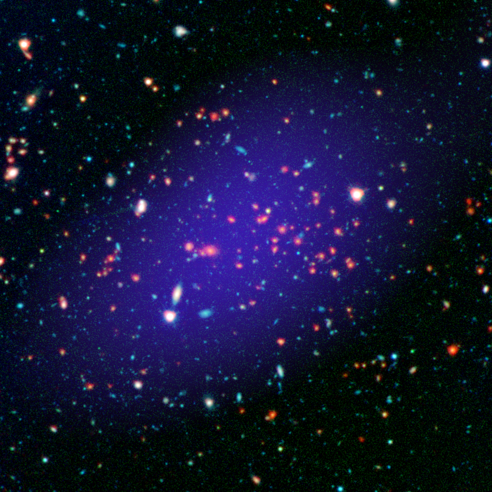 The galaxy cluster called MOO J1142+1527 can be seen here as it existed when light left it 8.5 billion years ago. The red galaxies at the center of the image make up the heart of the galaxy cluster. Image Credit: NASA/JPL-Caltech/Gemini/CARMA