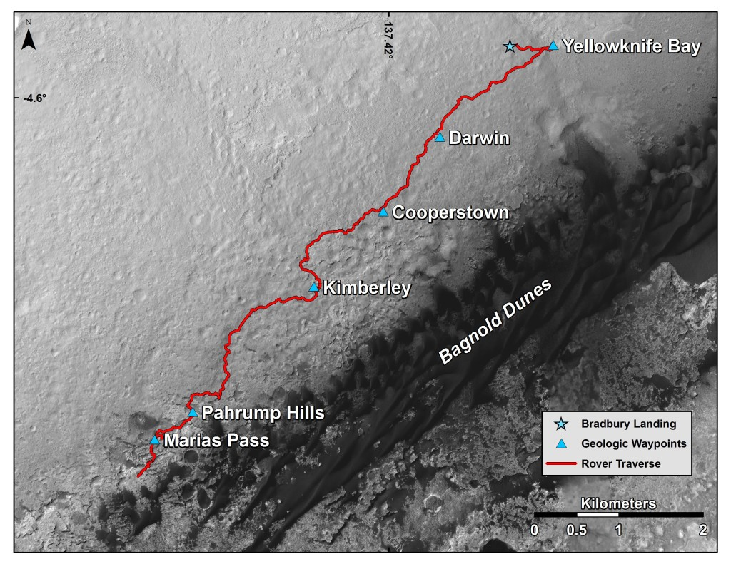 "This map shows the route driven by NASA's Curiosity Mars rover from the location where it landed in August 2012 to its location in mid-November 2015, approaching examples of dunes in the ""Bagnold Dunes"" dune field. Image Credit: NASA/JPL-Caltech/Univ. of Arizona"