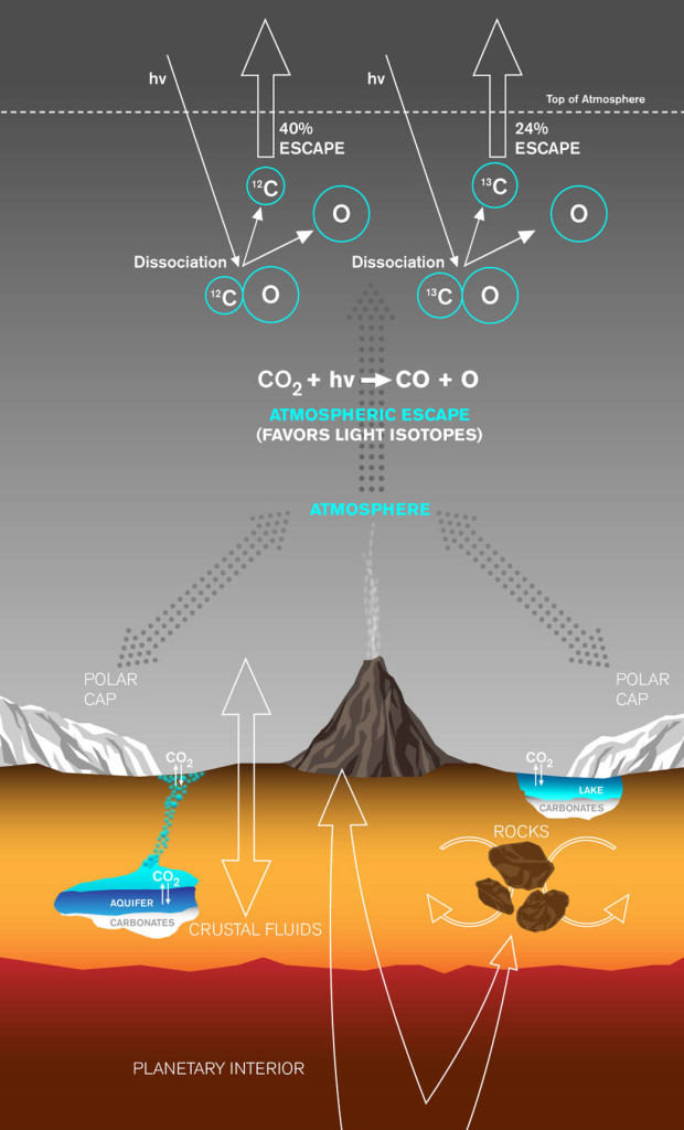 This graphic depicts paths by which carbon has been exchanged between Martian interior, surface rocks, polar caps, waters and atmosphere, and also depicts a mechanism by which carbon is lost from the atmosphere with a strong effect on isotope ratio. Image Credit: Lance Hayashida/Caltech