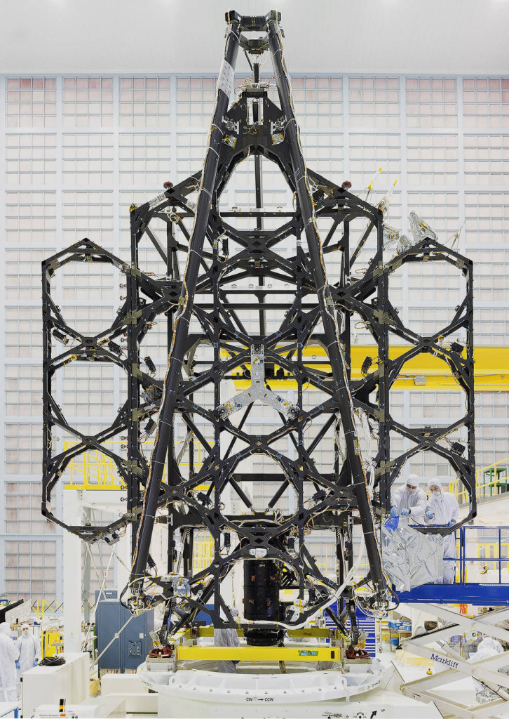 "Engineers successfully completed two deployments for the James Webb Space Telescope's ""wings"" or side portions of the backplane structure that fold up. Image Credit: NASA"