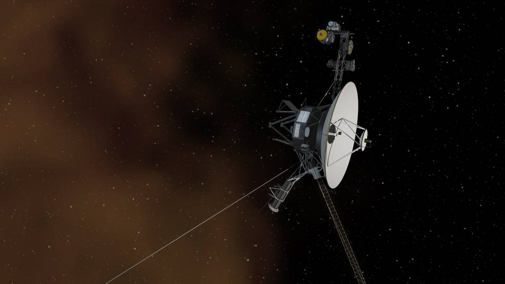 Artist's concept of the Voyager spacecraft in space. Image Credit: NASA