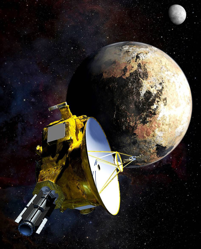 This artist's concept depicts the New Horizons spacecraft during its July 2015 encounter with Pluto and one of the dwarf planet's moons, Charon. Image Credit: Johns Hopkins University Applied Physics Laboratory/Southwest Research Institute