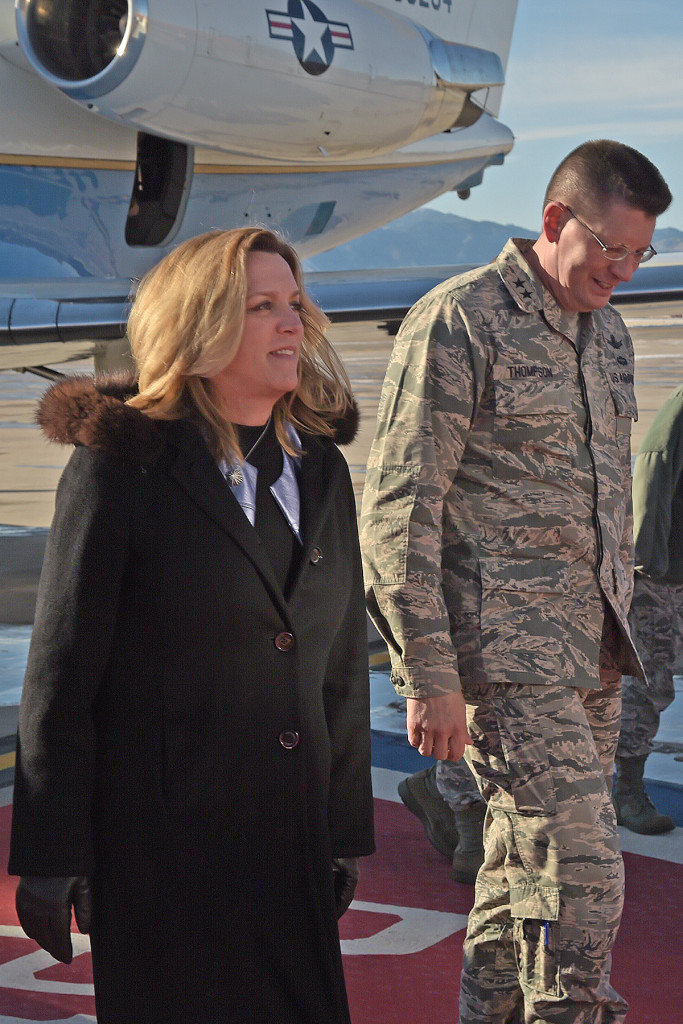 Secretary of the Air Force Deborah Lee James arrives at for the Schriever Wargame debrief at Schriever AFB, Col. December 17, 2015. Approximately 200 military and civilian experts from more than 27 U.S. agencies as well as from Australia, Canada, New Zealand and the United Kingdom participated in the Wargame. Image Credit: USAF