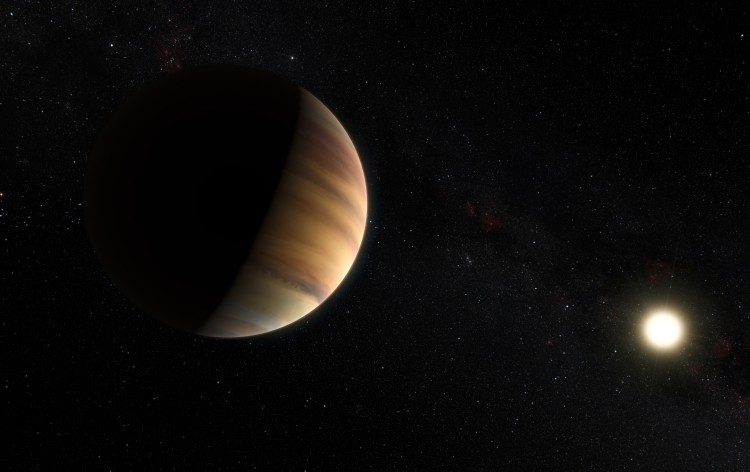 This artist's view shows the hot Jupiter exoplanet 51 Pegasi b, orbits a star about 50 light-years from Earth in the constellation of Pegasus (The Winged Horse). This was the first exoplanet around a normal star to be found in 1995. Twenty years later this object was also the first exoplanet to be be directly detected spectroscopically in visible light. Image Credit: ESO/M. Kornmesser/Nick Risinger (skysurvey.org)