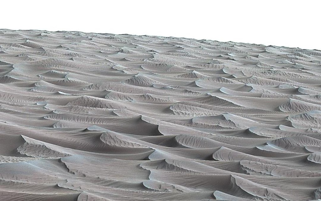 "The rippled surface of the first Martian sand dune ever studied up close fills this Nov. 27, 2015, view of ""High Dune"" from the Mast Camera on NASA's Curiosity rover. Image Credit: NASA/JPL-Caltech/MSSS"