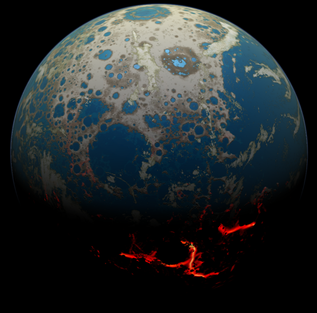 This illustration shows how the early Earth might have looked under bombardment, with circular impact features dotting the daylight side, while hot lava glows on the night side. Image Credit: Simone Marchi (SwRI), SSERVI, NASA