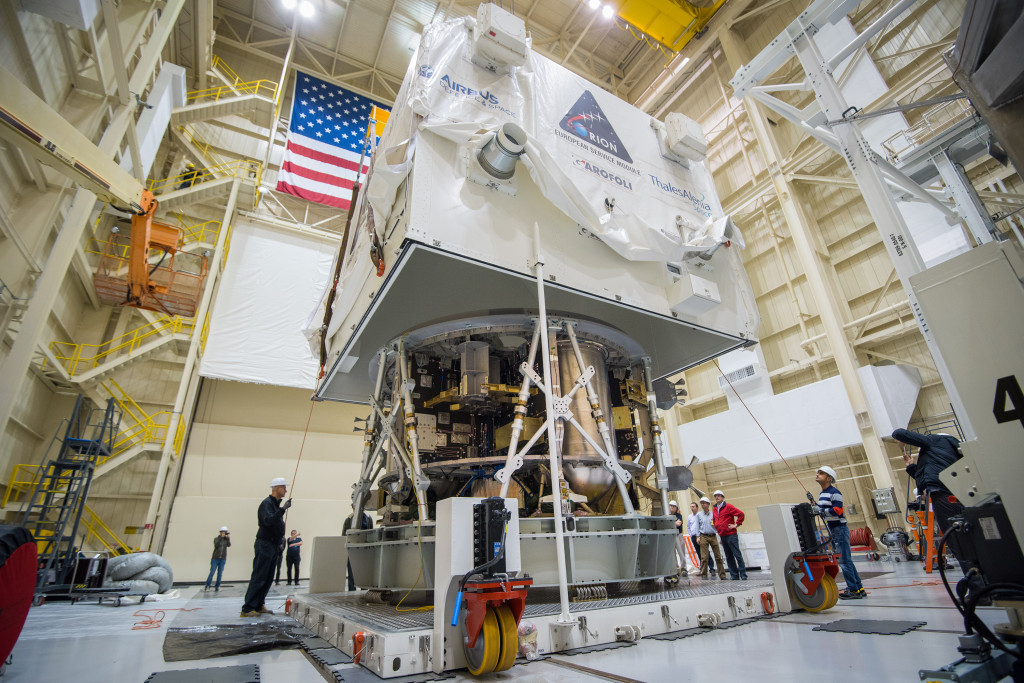 ESA's European Service Module arrived in Cleveland in November and was transported to NASA Glenn's Plum Brook Station, where it will undergo testing in the Space Power Facility in 2016. Image Credit: NASA