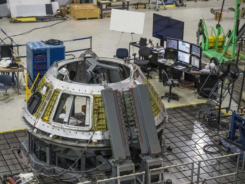 The Lockheed Martin team in New Orleans, LA, completed the final weld of the cone section of the Exploration Mission 1 crew module pressure vessel. Image Credit: NASA