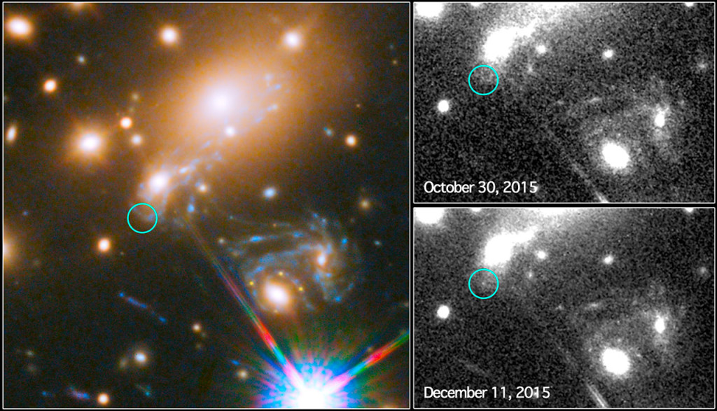 Third appearance of the Refsdal supernova. Image Credit: NASA/ESA/P. Kelly (University of California, Berkeley)