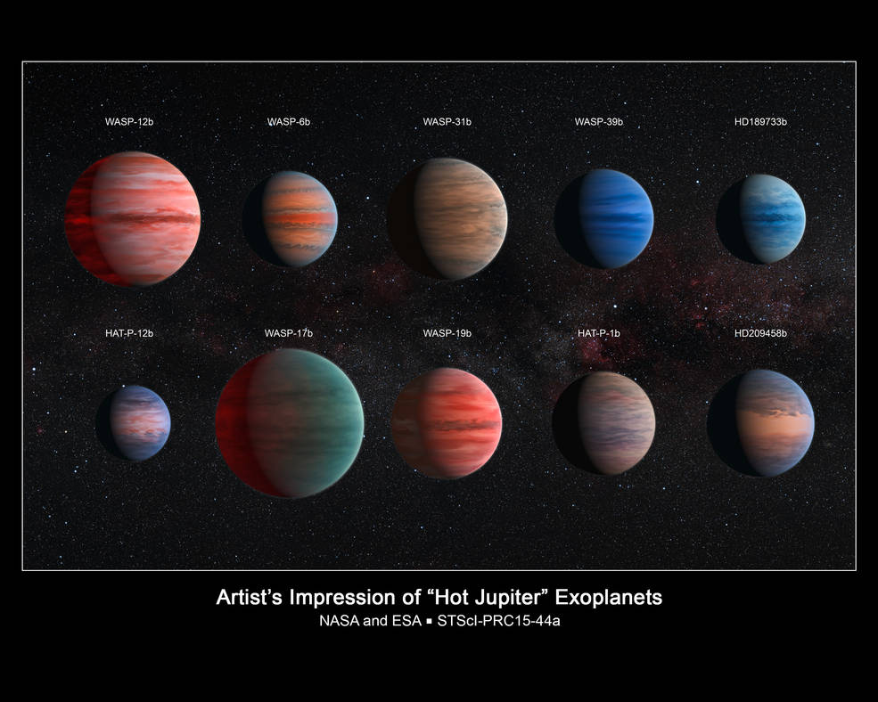 This image shows an artist's impression of the ten hot Jupiter exoplanets studied by astronomer David Sing and his colleagues using the Hubble and Spitzer space telescopes. From top left to lower left, these planets are WASP-12b, WASP-6b, WASP-31b, WASP-39b, HD 189733b, HAT-P-12b, WASP-17b, WASP-19b, HAT-P-1b and HD 209458b. Image Credit: NASA, ESA, and D. Sing (University of Exeter)