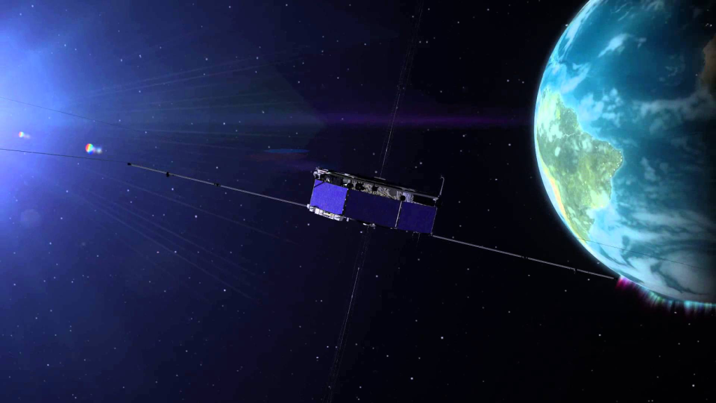 The four identical spacecraft of NASA's Magnetospheric Multiscale, or MMS, mission (one of which is illustrated here) fly through the boundaries of Earth's magnetic field to study an explosive process of magnetic reconnection. Thought to be the driver behind everything from solar flares to aurora, magnetic reconnection creates a sudden reconfiguration of magnetic fields, releasing huge amounts of energy in the process. Image Credit: NASA/Goddard Space Flight Center