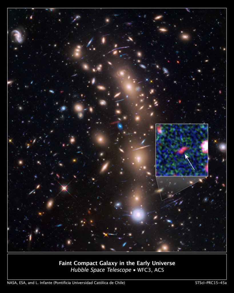 This is a Hubble Space Telescope view of a very massive cluster of galaxies, MACS J0416.1-2403, located roughly 4 billion light-years away and weighing as much as a million billion suns. The inset is an image of an extremely faint and distant galaxy that existed only 400 million years after the big bang. Hubble captured it because the gravitational lens makes the galaxy appear 20 times brighter than normal. Image Credit: NASA, ESA, and L. Infante (Pontificia Universidad Catolica de Chile)