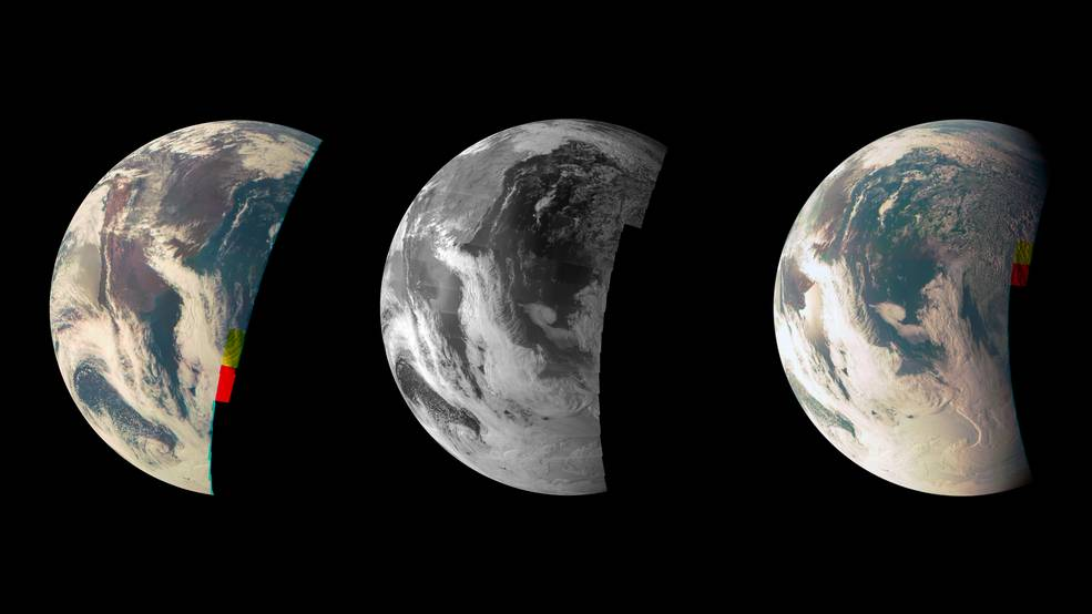 This trio of Junocam views of Earth was taken during Juno's close flyby on October 9, 2013. The leftmost view shows the southern two-thirds of South America. As the spacecraft moved eastward during its flyby, the Chilean coast and the snowy line of the Andes Mountains recedes toward the limb at left on the planet. The third image includes a view of the Argentinean coastline with reflections, or specular highlights, off the Rio Negro north of Golfo San Matias, as well as cloud formations over Antarctica. Image Credit: NASA/JPL-Caltech/MSSS