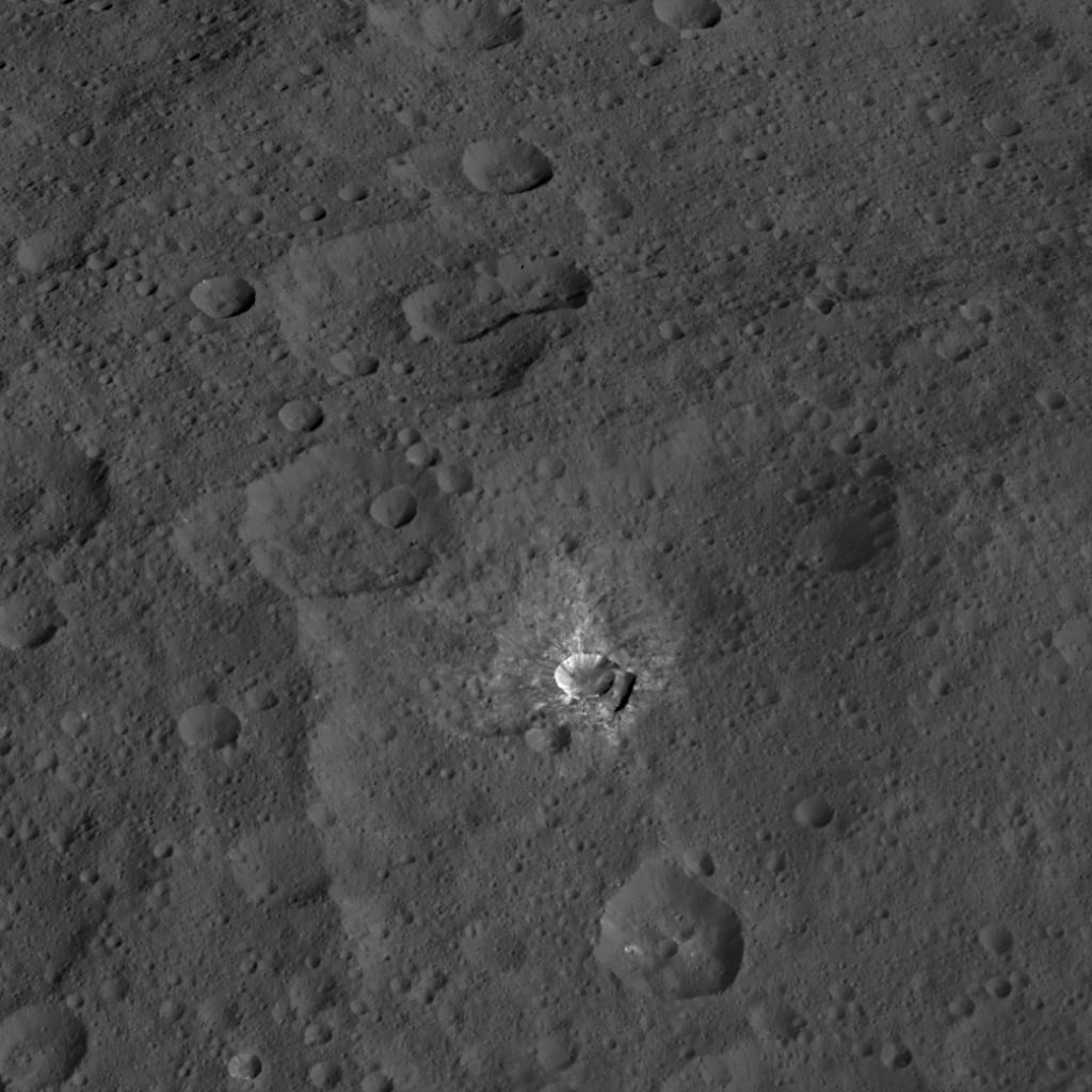 Oxo Crater, which is about 6 miles (9 kilometers) in diameter, is the second-brightest feature on Ceres. Image Credit: NASA/JPL-Caltech/UCLA/MPS/DLR/IDA
