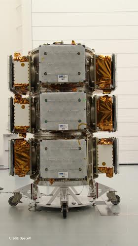 SNC built OG2 satellites stacked on ESPA Grande ring. Image Credit: Sierra Nevada Corporation