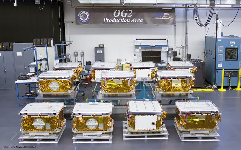 Eleven OG2 Mission 2 Satellites at SNC's facility in Colorado Prior to Shipment to Cape Canaveral, Florida. Image Credit: Sierra Nevada Corporation