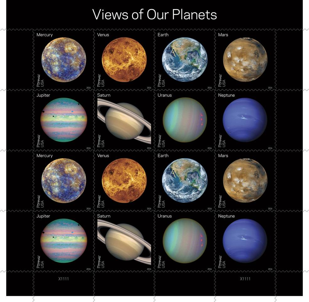 "With this pane of 16 Forever stamps, the Postal Service showcases some of the more visually compelling historic, full-disk images of the planets obtained during the last half-century of space exploration. Eight new colorful Forever stamps, each shown twice, feature Mercury, Venus, Earth, Mars, Jupiter, Saturn, Uranus and Neptune. Some show the planets' ""true color"" — what one might see if traveling through space. Others use colors to represent and visualize certain features of a planet based in imaging data. Still others use the near-infrared spectrum to show things that cannot be seen by the human eye. Image Credit: USPS/Antonio Alcalá © 2016 USPS"