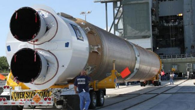 A United Launch Alliance Atlas V space launch vehicle, which uses the Russian made RD-180 propulsion system waits to be stacked at Space Launch Complex 41 at Cape Canaveral Air Force Station, Florida. Image Credit: USAF