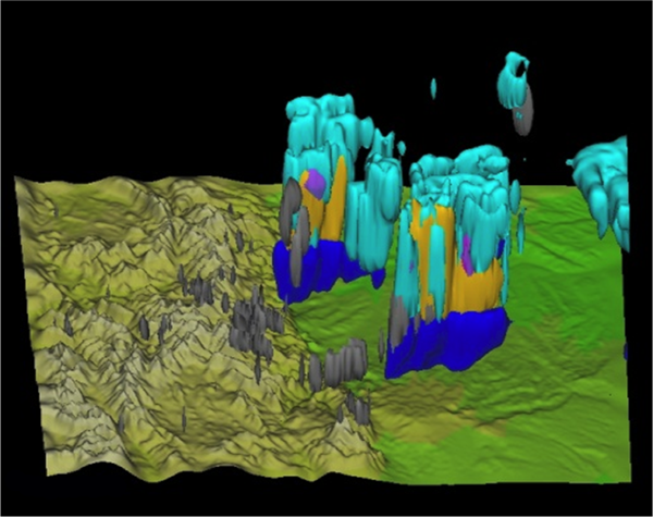 Scientists used the Yellowstone supercomputer to develop this 3-D rendering of a major thunderstorm in July 2011 that caused flooding in Fourmile Canyon west of Boulder. The colors show conditions in the clouds, including ice particles (light blue), graupel (orange), snow (pink), rain (blue), and water (grey). Image Credit: David Gochis, NCAR