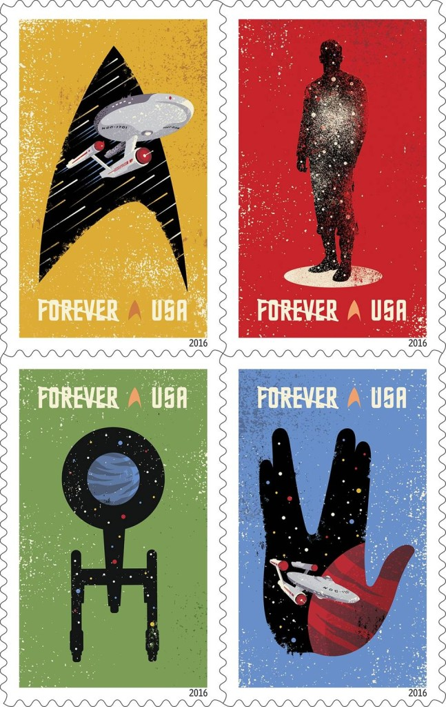 """Celebrating the 50th anniversary of the television premiere, the new Star Trek Forever stamps showcase four digital illustrations inspired by the television program: the Starship Enterprise inside the outline of a Starfleet insignia against a gold background, the silhouette of a crewman in a transporter against a red background, the silhouette of the Enterprise from above against a green background, and the Enterprise inside the outline of the Vulcan statue against a blue background. The words """"Space…the Final Frontier,"""" from Captain Kirk's famous voice-over appear against a background of stars. Image Credit: USPS/Heads of State under the art direction of Antonio Alcalá © 2016 USPS"""