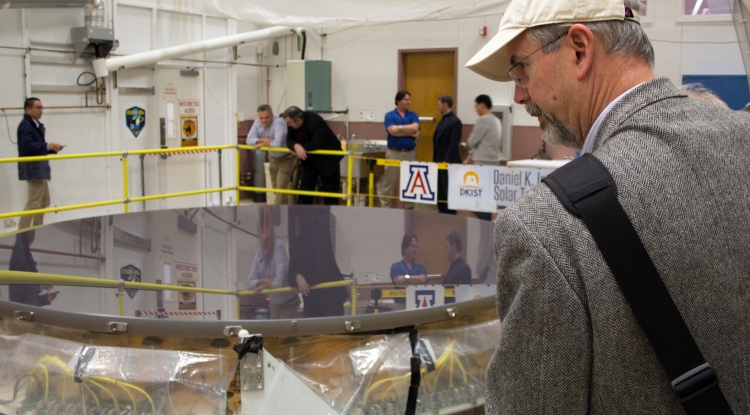 The completed primary mirror for the Daniel K. Inouye Solar Telescope awaits shipping at the College of Optical Sciences. Image Credit: University of Arizona