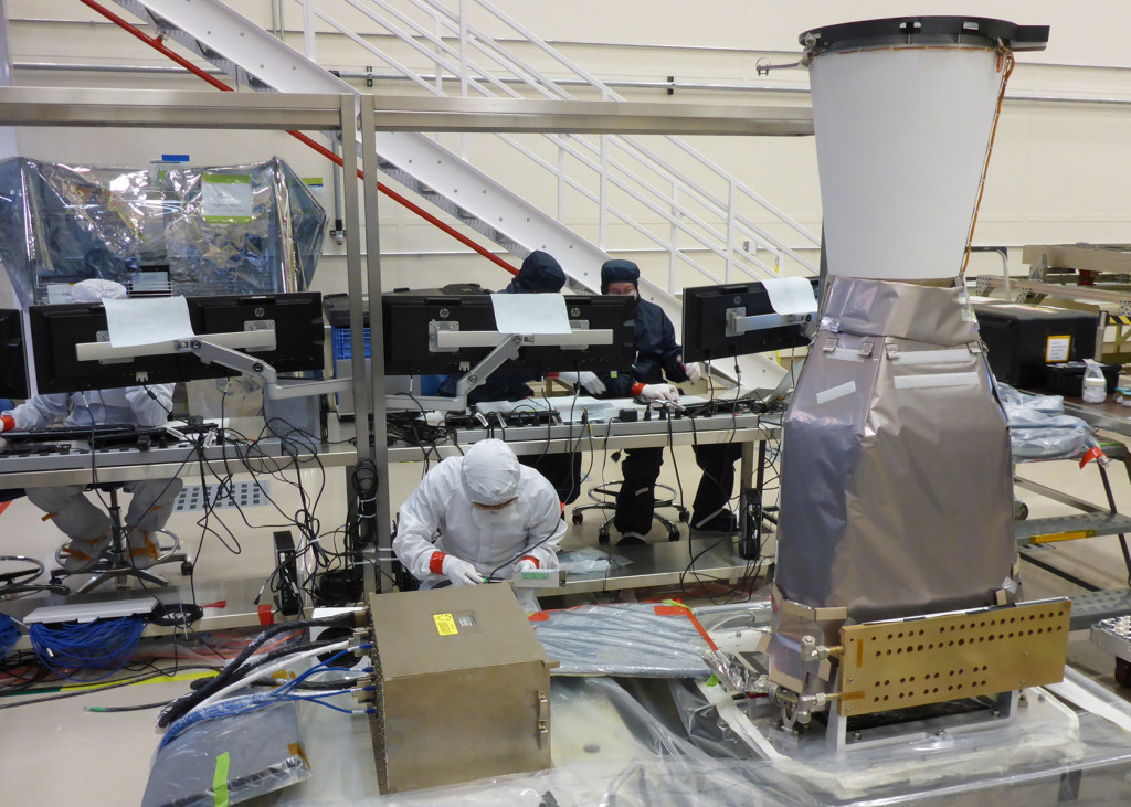 The second Geostationary Lightning Mapper undergoes final testing in Lockheed Martin's Denver location, where technicians will integrate it with the GOES-S weather satellite. This GLM was delivered after a build and test program at the Advanced Technology Center in Palo Alto, California, where the team completed this second instrument significantly faster than the first build. Image Credit: Lockheed Martin