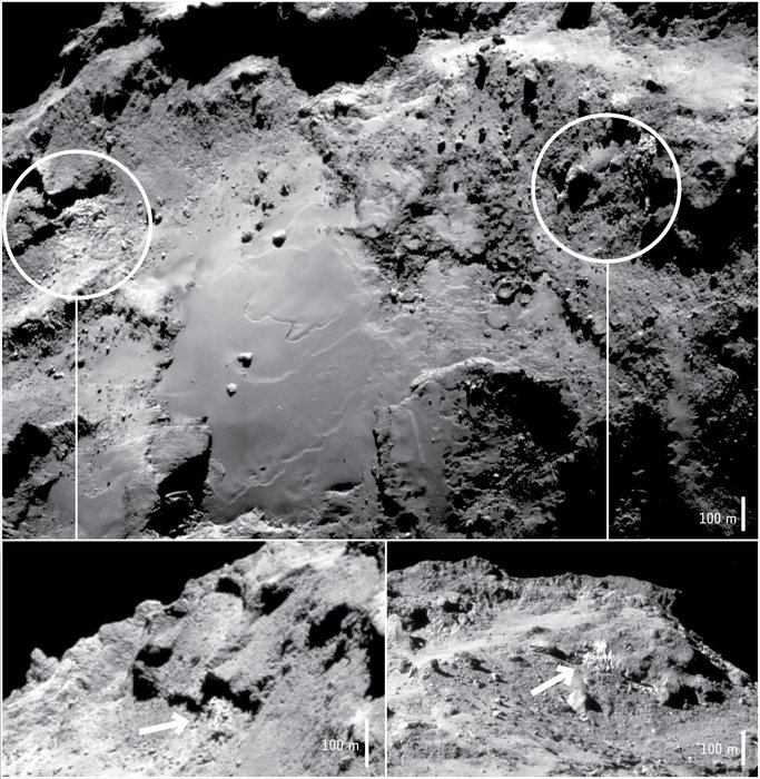 Two exposures of water ice identified by Rosetta's VIRTIS instrument in the Imhotep region of Comet 67P/Churyumov–Gerasimenko in September–November 2014. Image Credit: ESA/Rosetta/NavCam