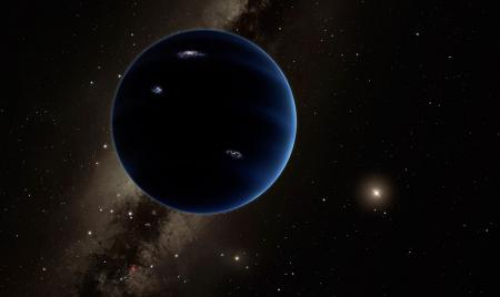 This artistic rendering shows the distant view from Planet Nine back towards the sun. The planet is thought to be gaseous, similar to Uranus and Neptune. Image Credit: Caltech/R. Hurt (IPAC)