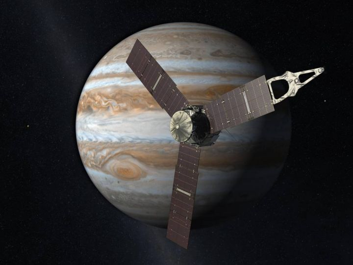 The Juno spacecraft will arrive at Jupiter in 2016 to study the giant planet from an elliptical, polar orbit. Juno will repeatedly dive between the planet and its intense belts of charged particle radiation. Image credit: NASA/JPL-Caltech