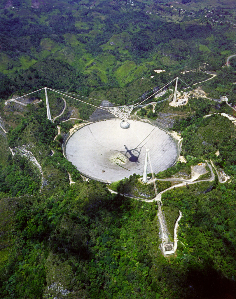 The planetary radar facility at the Arecibo Observatory in Puerto Rico can be used to determine shape and surface features of near-Earth objects as well as precisely determine their orbits. Image Credit: NAIC - Arecibo Observatory, a facility of the NSF