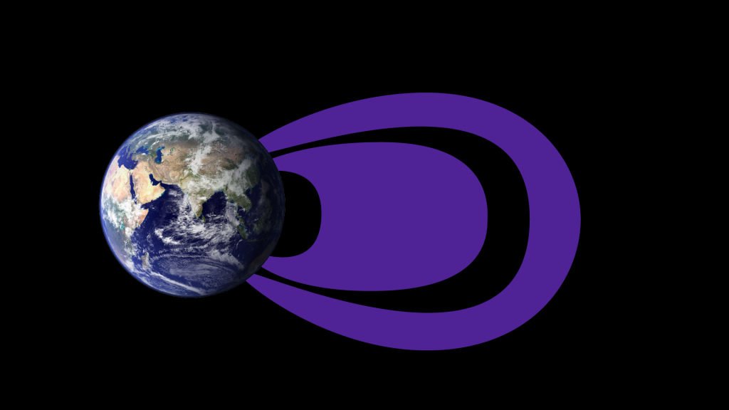 (Illustration) The radiation belts look much different at the lowest electron energy levels measured, about 0.1 MeV. Here, the inner belt is much larger than in the traditional picture, expanding into the region that has long been considered part of the empty slot region. The outer belt is diminished and doesn't expand as far in these lower electron energies. Image Credit: NASA Goddard/Duberstein