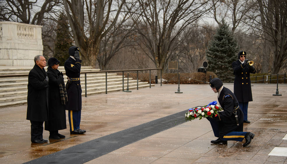 NASA Administrator Charles Bolden and his wife Alexis lay a wreath at the Tomb of the Unknowns as part of NASA's Day of Remembrance, Friday, Jan. 31, 2014, at Arlington National Cemetery.  The wreaths were laid in memory of those men and women who lost their lives in the quest for space exploration. Image Credit: NASA/Bill Ingalls
