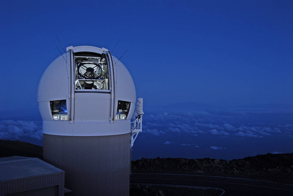 The Panoramic Survey Telescope & Rapid Response System (Pan-STARRS) 1 telescope on Maui's Mount Haleakala, Hawaii has produced the most near-Earth object discoveries of the NASA-funded NEO surveys in 2015. Image Credit: University of Hawaii Institute for Astronomy / Rob Ratkowski