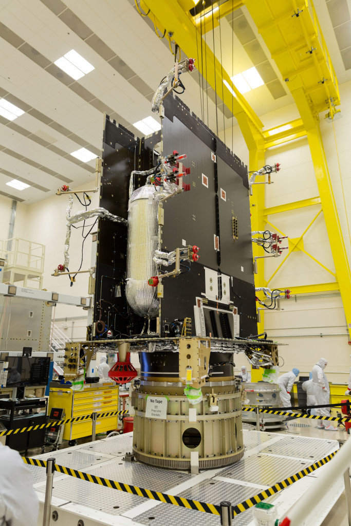 The GOES-S Propulsion Module in a clean room at Lockheed Martin. Image Credit: Lockheed Martin