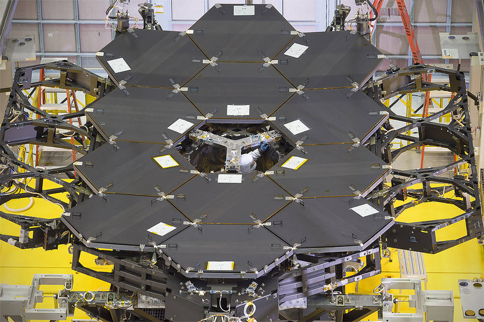 One dozen (out of 18) flight mirror segments that make up the primary mirror on NASA's James Webb Space Telescope have been installed at NASA's Goddard Space Flight Center. Image Credit: NASA/Chris Gunn