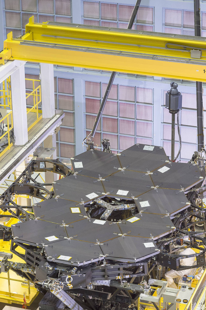 Another view of the one dozen (out of 18) flight mirror segments that make up the primary mirror on NASA's James Webb Space Telescope have been installed at NASA's Goddard Space Flight Center. Image Credit: NASA/Chris Gunn