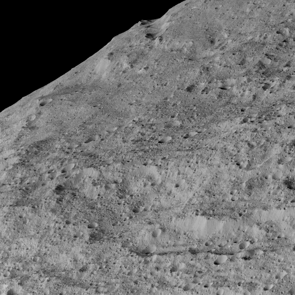 This view of Ceres, taken by NASA's Dawn spacecraft on December 10, shows an area in the southern mid-latitudes of the dwarf planet. Image Credit: NASA/JPL-Caltech/UCLA/MPS/DLR/IDA