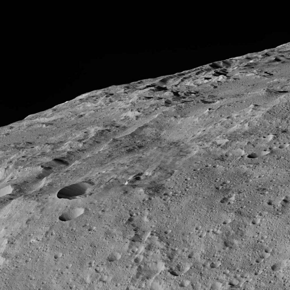 This image of Ceres was taken in Dawn's low-altitude mapping orbit around a crater chain called Gerber Catena. Image Credit: NASA/JPL-Caltech/UCLA/MPS/DLR/IDA