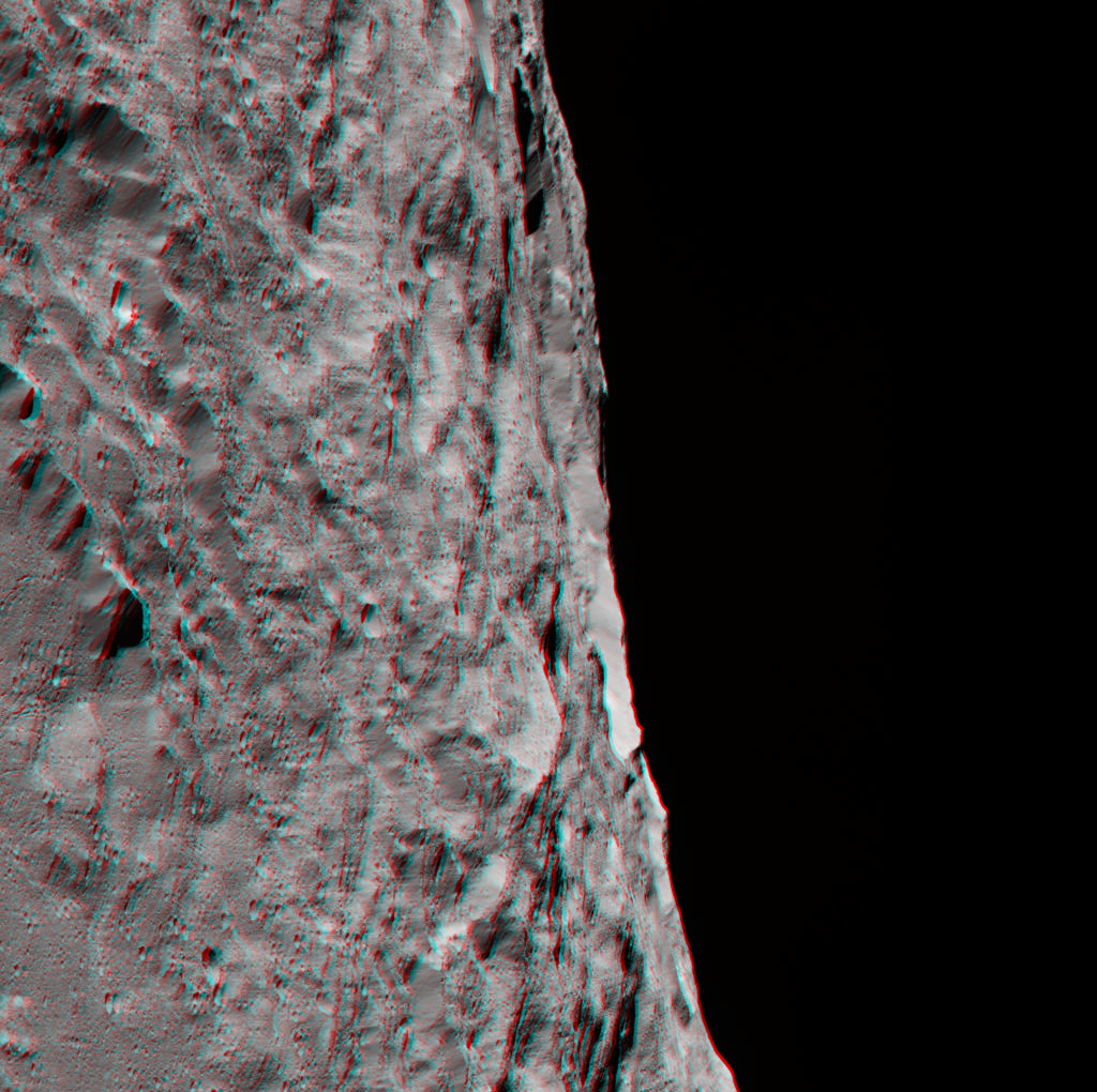 This 3-D image, best viewed with red-blue glasses, shows a portion of Ceres' southern hemisphere. Image Credit: NASA/JPL-Caltech/UCLA/MPS/DLR/IDA