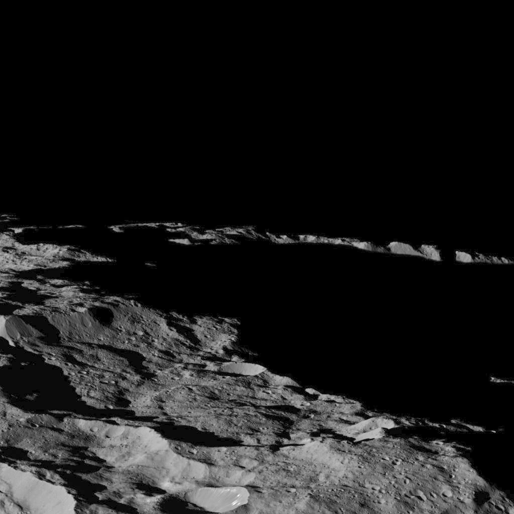 This part of Ceres, near the south pole, has such long shadows because, from the perspective of this location, the sun is near the horizon. Image Credit: NASA/JPL-Caltech/UCLA/MPS/DLR/IDA