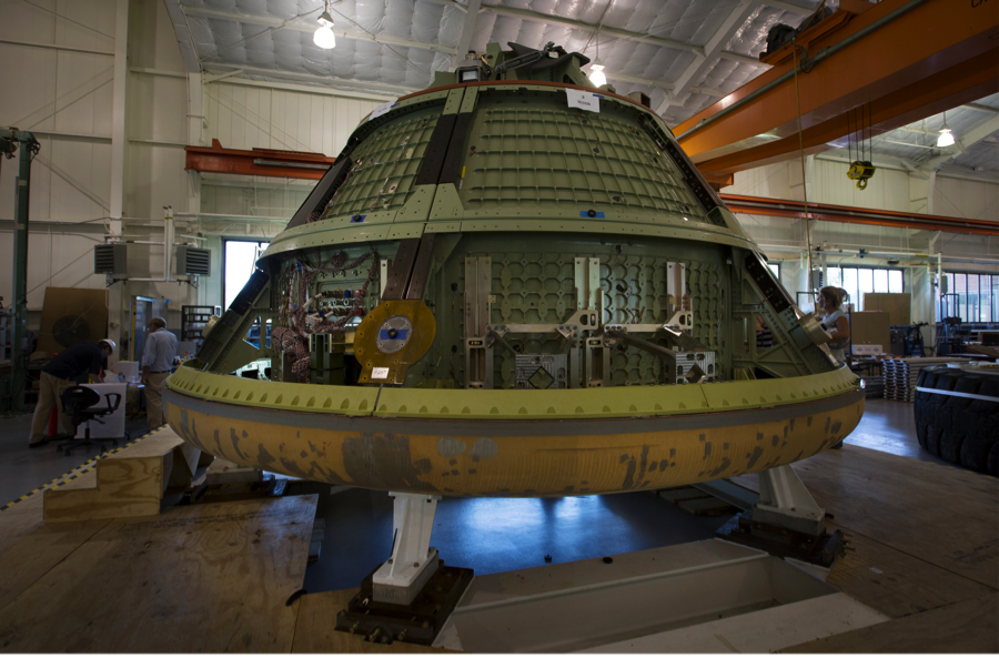 Langley engineers coupled Orion's flown heat shield with a mockup for testing in the center's Hydro Impact Basin. Image Credit: NASA