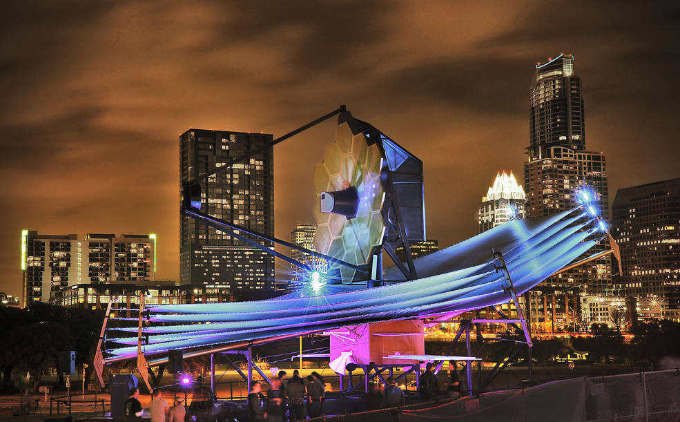 The full-scale James Webb Space Telescope model at South by Southwest in Austin. Image Credit: NASA/Chris Gunn