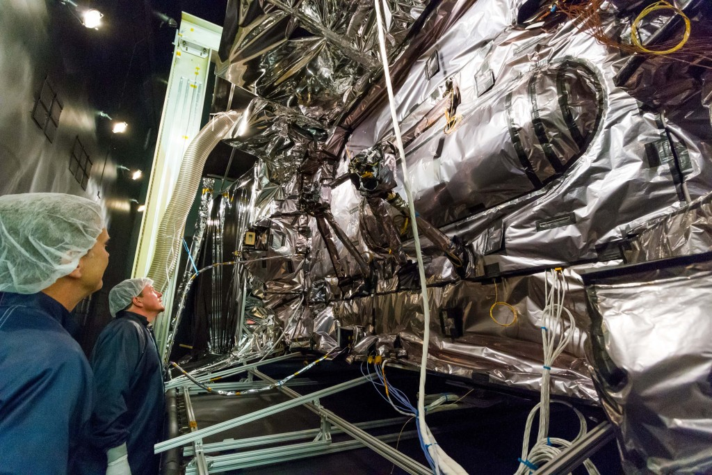 The first GPS III satellite recently completed system-level Thermal Vacuum testing, validating Lockheed Martin's design for the next generation of more powerful GPS satellites. Image Credit: Lockheed Martin