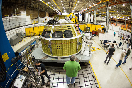 On January 13, engineers at Michoud Assembly Facility in New Orleans finished welding together the primary structure of the Orion spacecraft's crew module. Image Credit: NASA