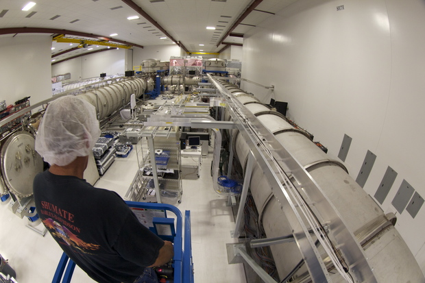 A bird's eye view of LIGO Hanford's laser and vacuum equipment area (LVEA). The LVEA houses the pre-stabilized laser, beam splitter, input test masses, and other equipment. Image Credit: LIGO