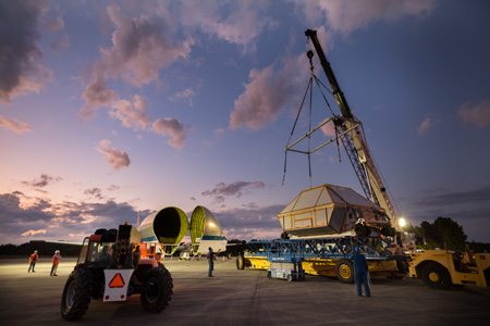 On February 1, NASA's Super Guppy airplane transported the Orion crew module from Michoud Assembly Facility to Kennedy Space Center. Image Credit: Lockheed Martin