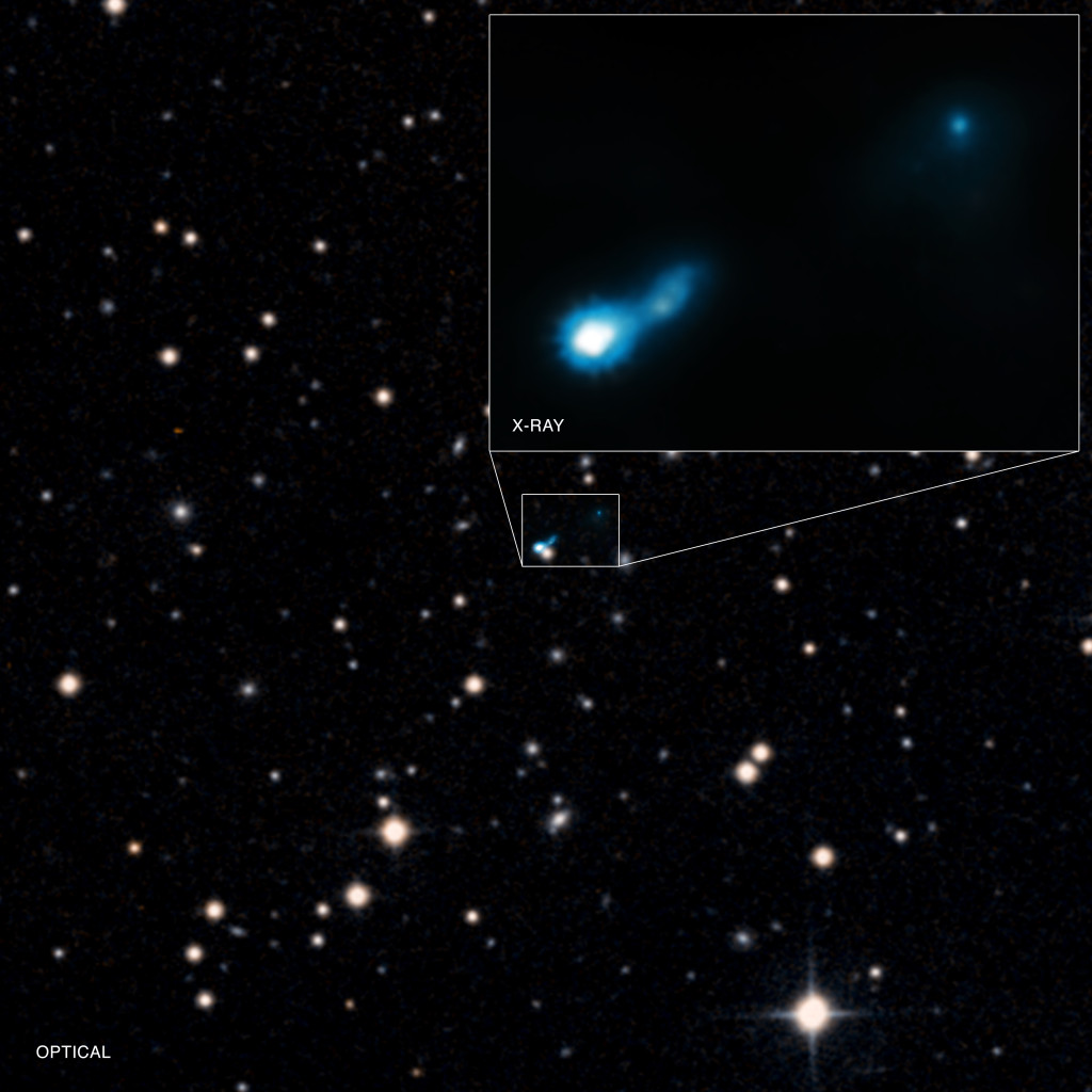 Extended X-ray jet associated with quasar B3 0727+409. Image Credit: X-ray: NASA/CXC/ISAS/A. Simionescu et al, Optical: DSS