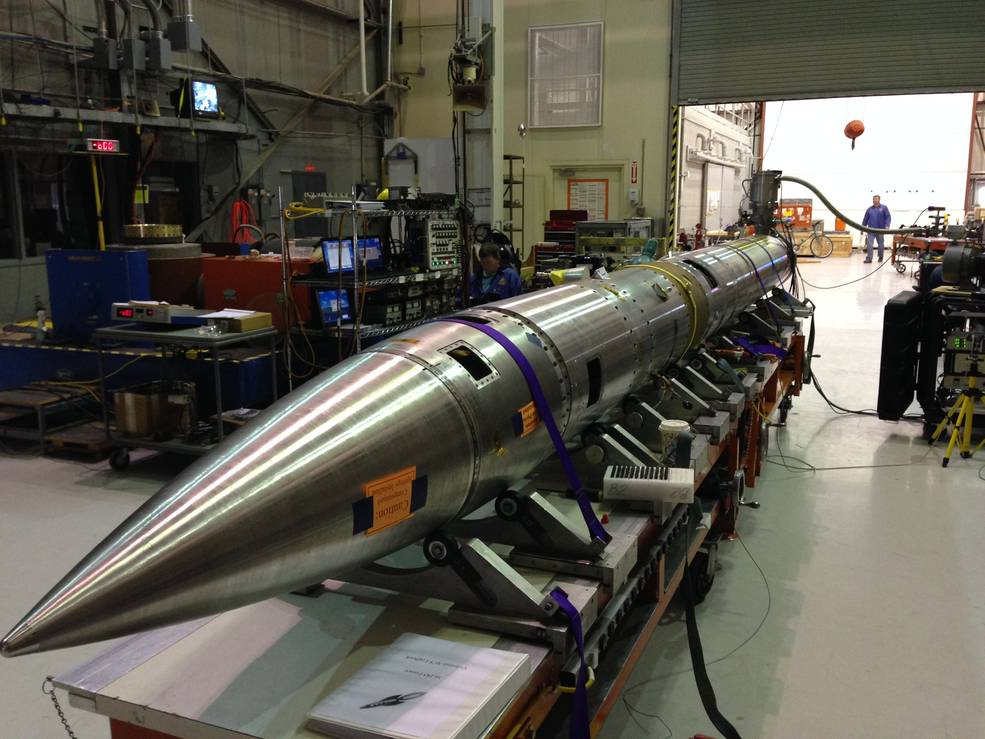 The Colorado High-resolution Echelle Stellar Spectrograph, or CHESS, sounding rocket is prepped for its six-minute flight to observe far beyond our solar system—to peer at a place where new stars are born. Image Credit: NASA/WSMR