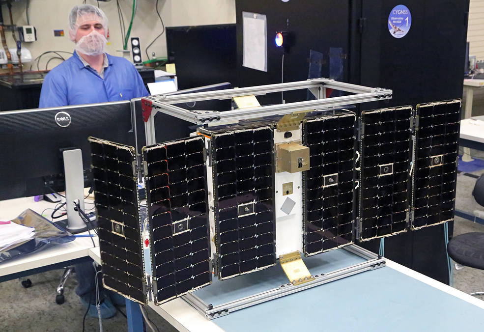 Deployment test of the first completed CYGNSS microsatellite, February 4, 2016, at the Southwest Research Institute. Image Credit: Southwest Research Institute